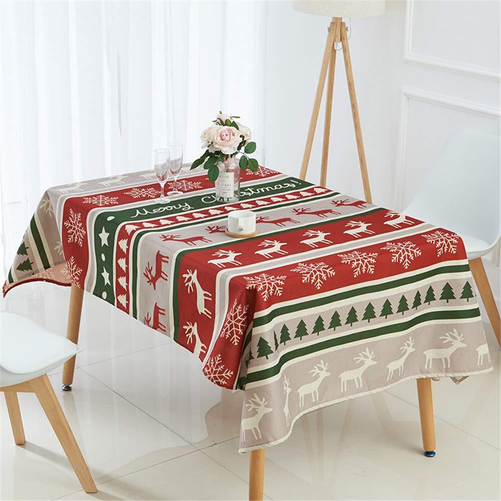 DHHY Mantel de Lino encriptado Serie de Navidad Mantel de Mesa ...