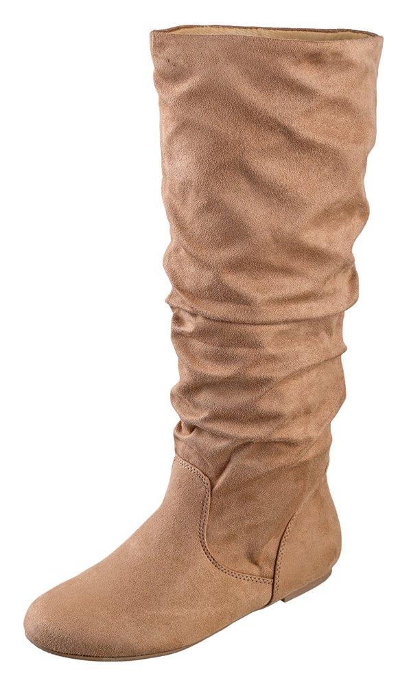 Soda Women's Zuluu Slouchy Faux Leather Knee HIgh Flats Boots, Natural Tan, 8