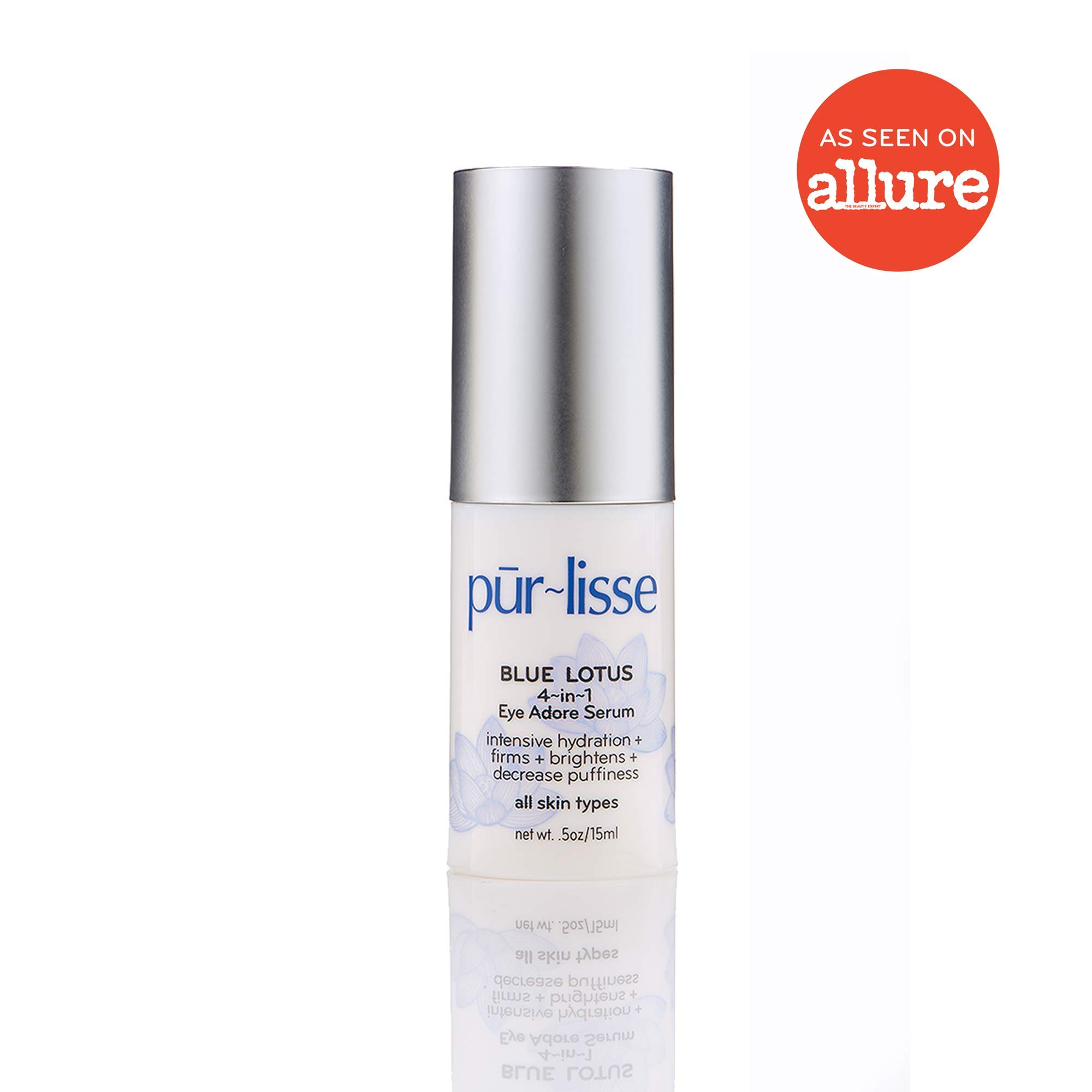 purlisse Blue Lotus 4-in-1 Eye Adore Serum - Under Eye Cream for Dark Circles - Natural Eye Gel for Fine Lines and Puffiness - Brightening Eye Serum for All Skin Types, 0.5 Ounce