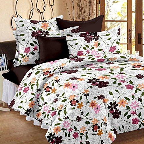 Bedspun Premium Platinum Paisley Printed Candy 120 TC Cotton Double Bedsheet