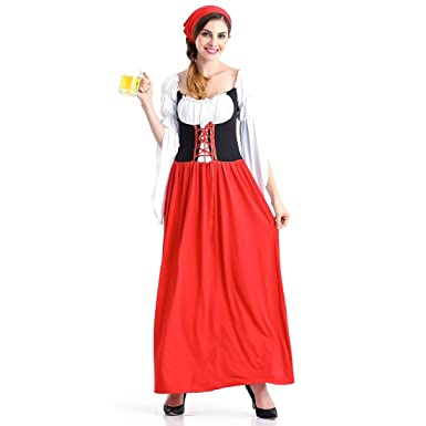 ddebe827d5 Image Unavailable. Image not available for. Color  Slocyclub Women s German  Dirndl Dress Bavarian Oktoberfest Costumes for Halloween Carnival