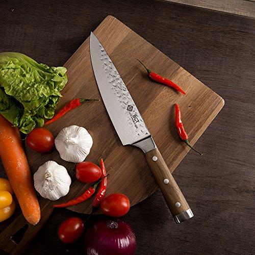 BGT Japanese 67 Layer High Grade VG-10 Super Damascus Steel Knives, Sharp, Teak Handle Professional Hammered Kitchen Knife Set with Knife Roll Bag 6Pcs Set (Silver Blade) by BGT (Image #7)
