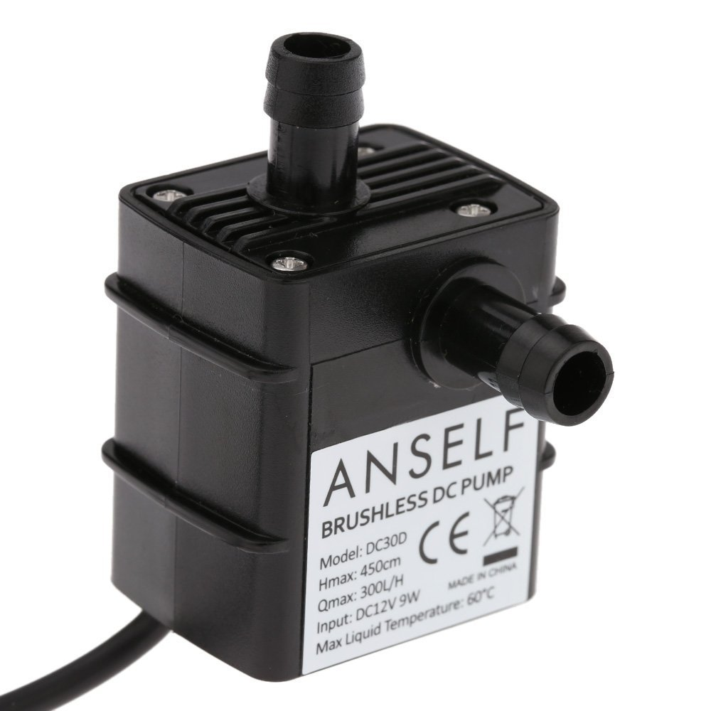 Anself Ultra-silenzioso mini DC12V Micro Pompa Acqua Olio impermeabile sommergibile Fontana Acquario di circolazione 240L / H 5W Ascensore 3M 0 ~ 100 ?