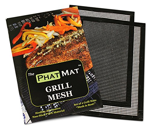 Phat Mat Non Stick Grill Mesh Mats (2 pk) - Heavy Duty BBQ Grilling & Baking Accessories for Traeger, Green Egg, Smoker & Oven - Include FREE Meat Smoking Temperature Guide