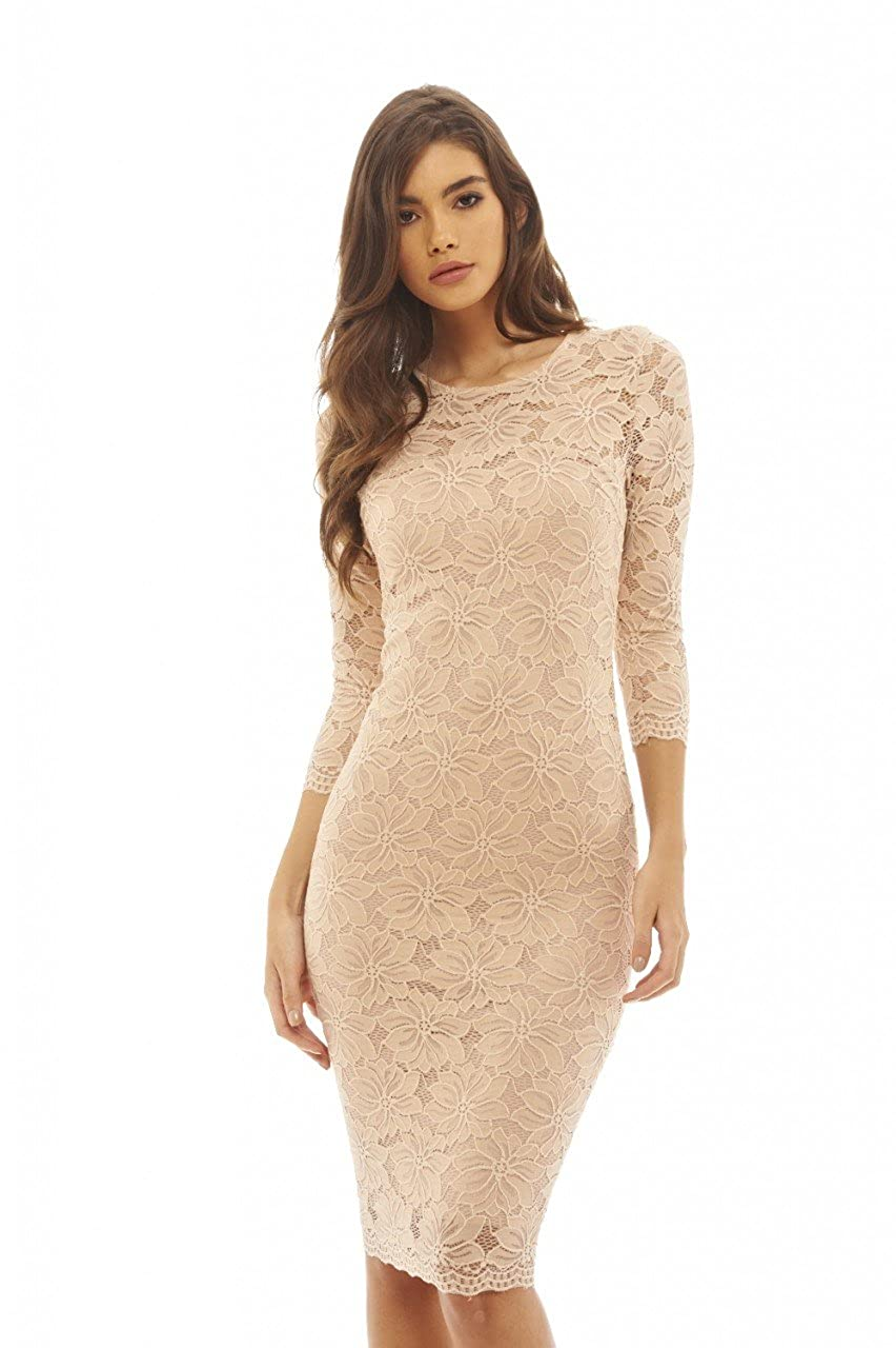 1ed233ea72b Elegant and sophistocated this 3 4 sleeve lace bodycon midi dress will  flatter your figure cinching in the waist and displaying a modest amount of  skin.