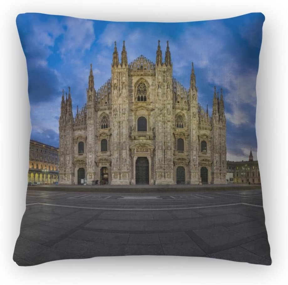 Gear New Throw Pillow, 26×26, Duomo Di Milano Milan Cathedral and Piazza Del Duomo in The Mo