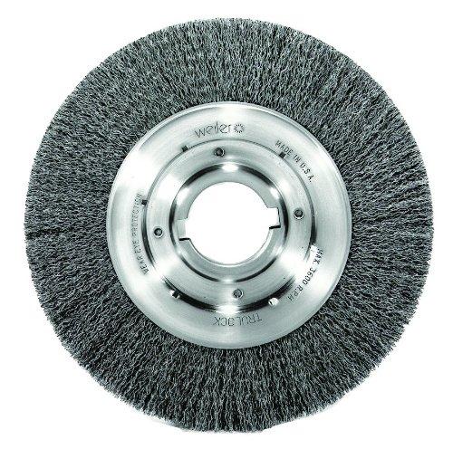 Weiler Trulock Medium Face Wire Wheel Brush, Round Hole, Steel, Crimped Wire, 10'' Diameter, 0.014'' Wire Diameter, 2'' Arbor, 2'' Bristle Length, 1-1/8'' Brush Face Width, 3600 rpm