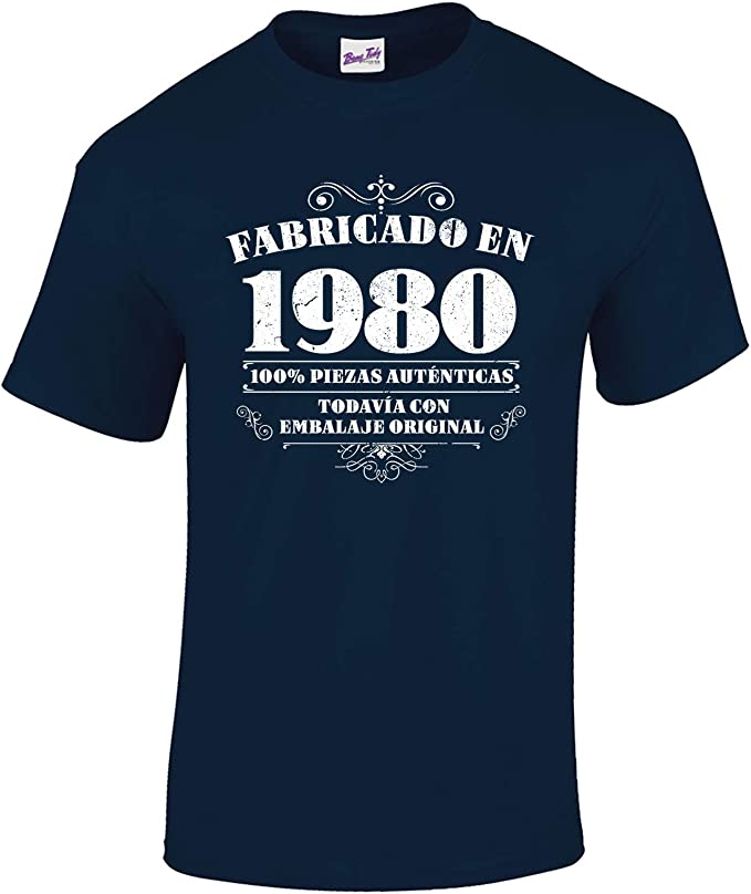 Bang Tidy Clothing Camiseta de Hombre para Regalo de 40 cumpleaños Manufactured 1980: Amazon.es: Ropa y accesorios