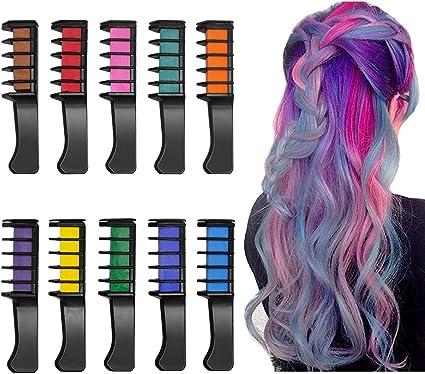 Peine de Tiza Para el Pelo, 10 Colores Lavables Tinte para Cabello, Color de pelo Temporal Hair Chalk Set para Niños Regalos Navidad Fiestas Cosplay ...