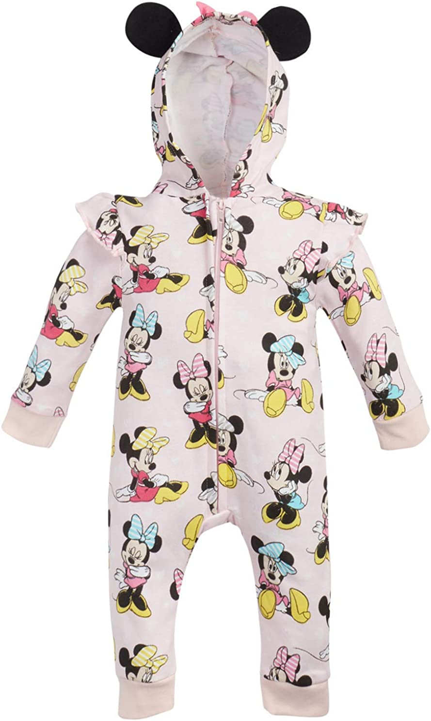 Disney Baby Girls Minnie Mouse One Piece Hooded Footless Romper Jumpsuit Pink Minnie Size 0-3 Months