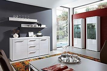Speisezimmer, Esszimmer Komplett, Hochglanz Weiß Mit LED Beleuchtung, 2x  Wandboard B: