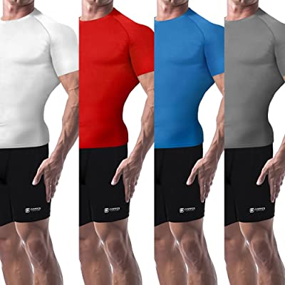 Copper Compression New Colored Short Sleeve Shirt - Guaranteed Best Copper + Zinc Mens T-Shirt with Infused Fit. Support Stiff & Sore Muscles. Basketball, Football, Hockey, Sports Wear
