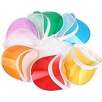 HUPLUE 6Pcs Plastic Transparent Sun Visor Clear Golf Visor Hat UV Protection Hat Cap Candy Color for Outdoor