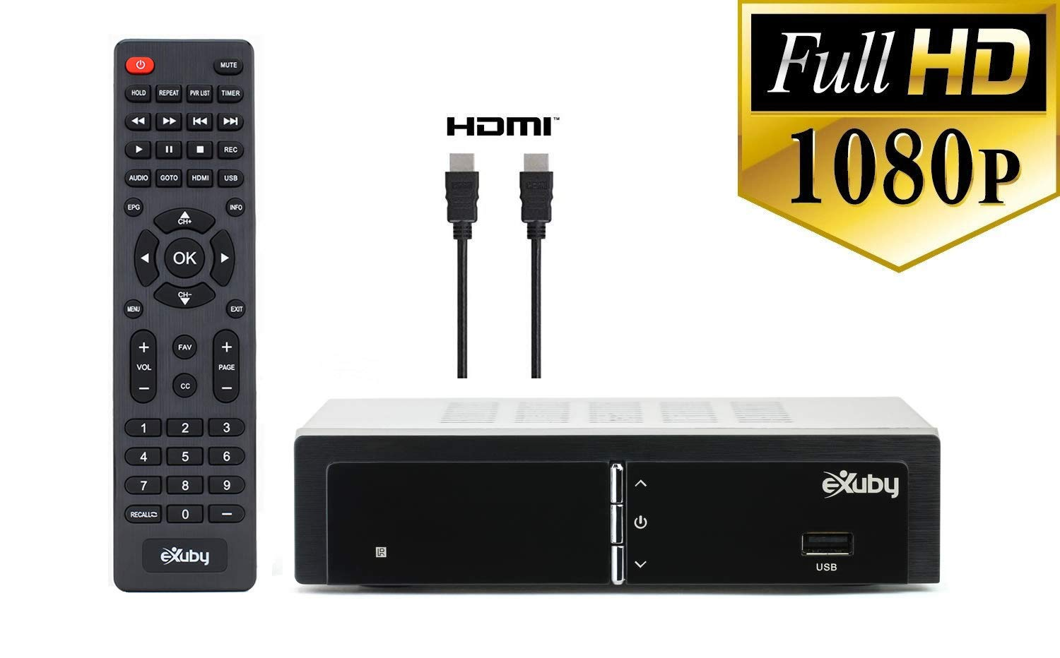 Exuby Digital Converter Box for TV w/ HDMI Cable for Recording and Viewing Full HD Digital Channels (Instant or Scheduled Recording, 1080P HDTV, HDMI Output, 7 Day Program Guide)