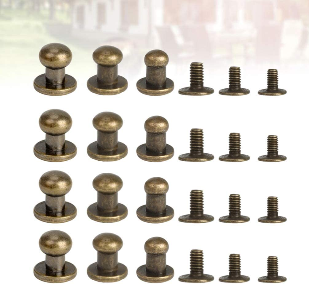 Healifty 72pcs Chicago Screw and Post Set Leather Rivets Tubular Double Cap Rivet Studs 8mm 7mm 6mm for DIY Leather Luggage Shoes Belts Hardware Black