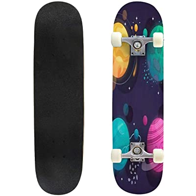Classic Concave Skateboard Set of Cartoon Planets in Space Vector Illustration Longboard Maple Deck Extreme Sports and Outdoors Double Kick Trick for Beginners and Professionals : Sports & Outdoors