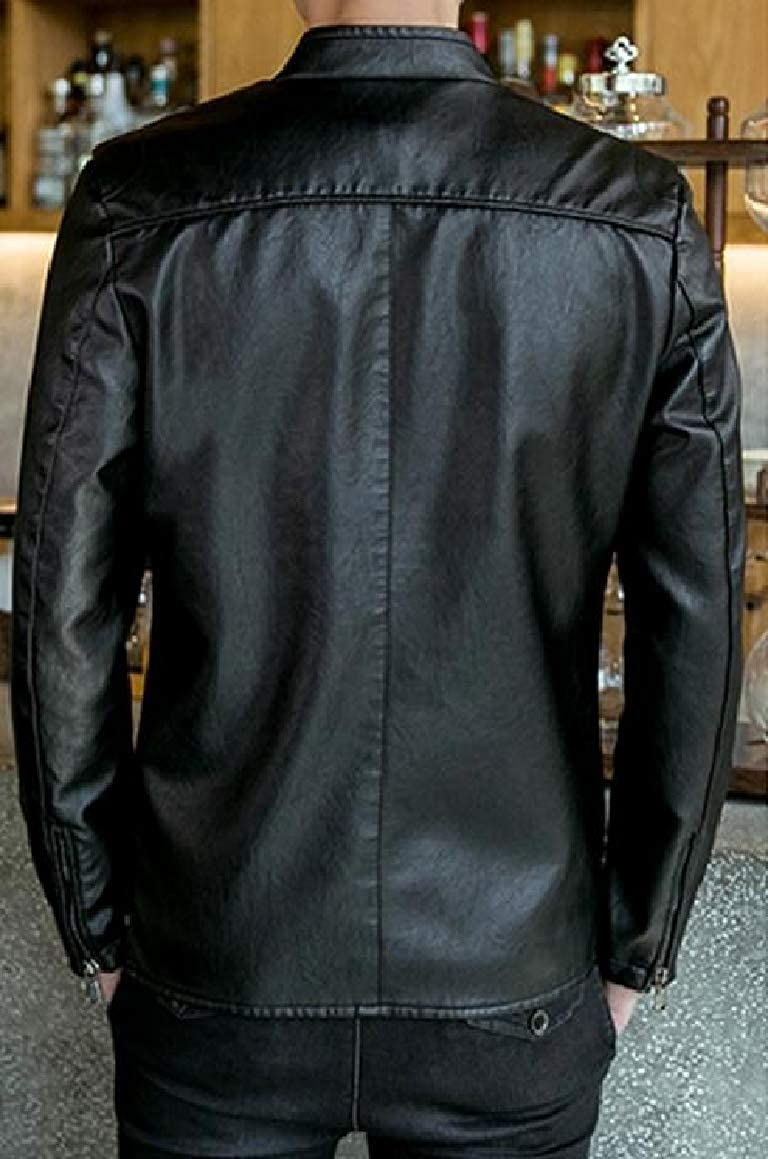 Romantc Mens Thicken Stand up Collar Plus Velvet Zip-up Silm Fit Pu Leather Jacket