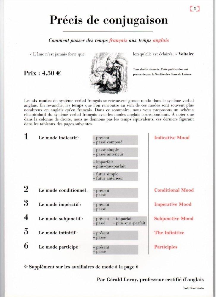 Amazon Fr Precis De Conjugaison Correspondance Entre Temps Francais Et Anglais Gerald Leroy Livres