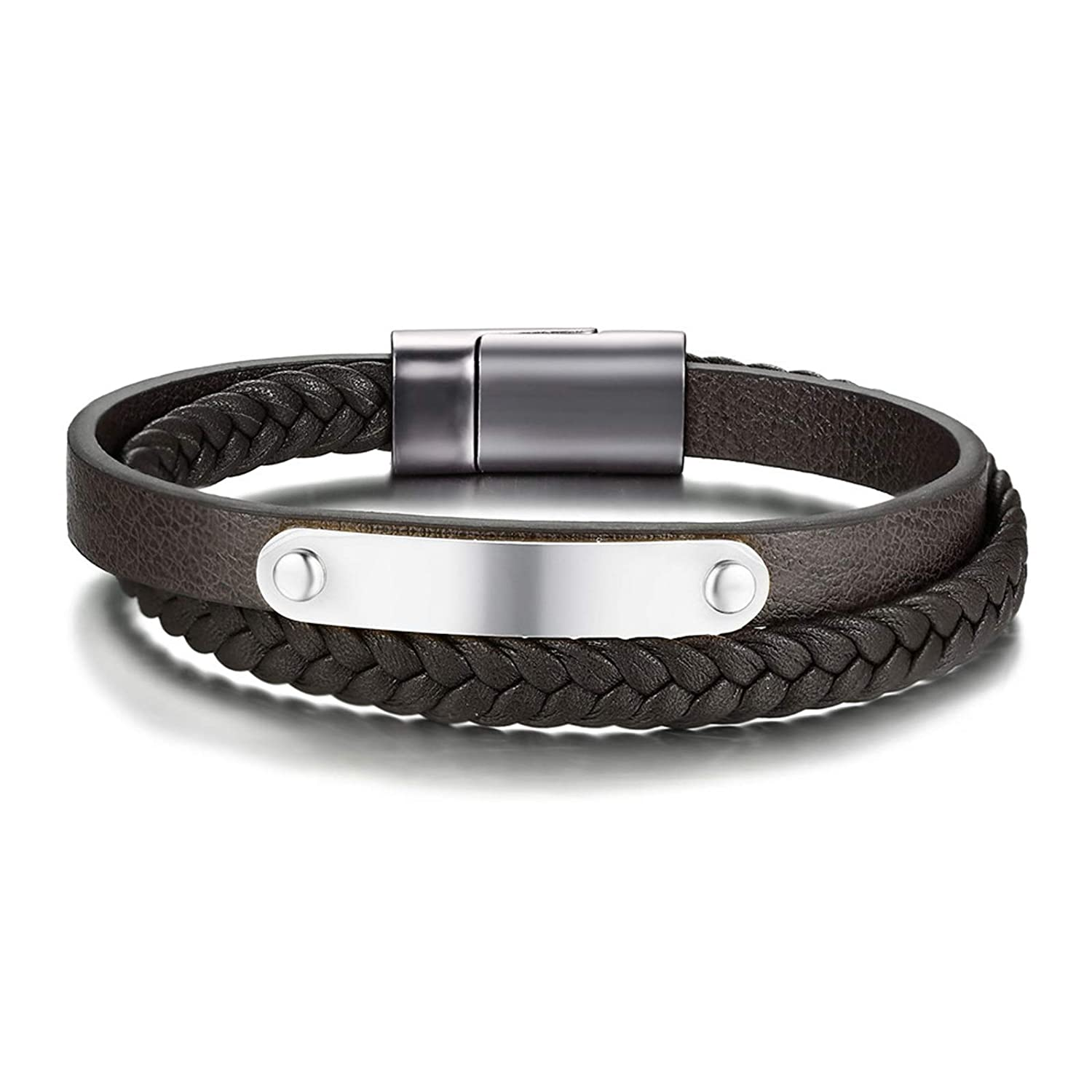 Surgical Steel Clasp 8.2 Gnzoe Men Women Multi Layered Braided Genuine Leather Bracelet Wrap Brown