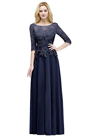 MisShow Women Formal Evening Gowns Lace Applique Bridesmaid Dress Navy Blue US2