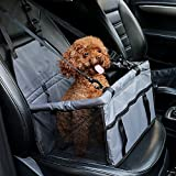 Car Booster Seat Carrier for Dog Folding Pet Cat Car Travel Safety Seat Belt Harness Cover Pet Traveling Carrier Bag Portable with Clip-On Safety Leash and Zipper Storage Pocket (Grey)