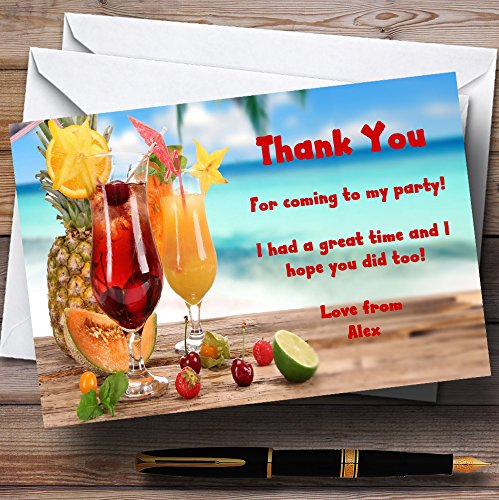 Fruity Cocktail Personalized Party Thank You - Personalized Invitations Cocktails