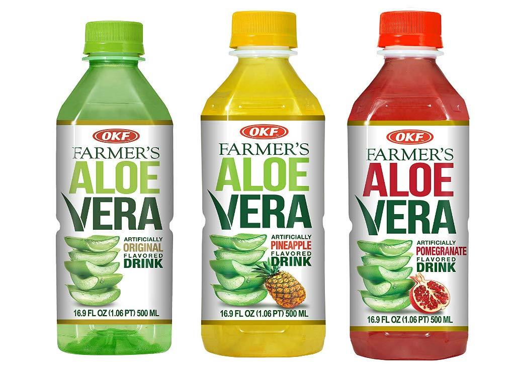 OKF Farmer's Aloe Vera Drink, Original, Pineapple and Pomegranate, 16.9 Fluid Ounce (Pack of 20 each)