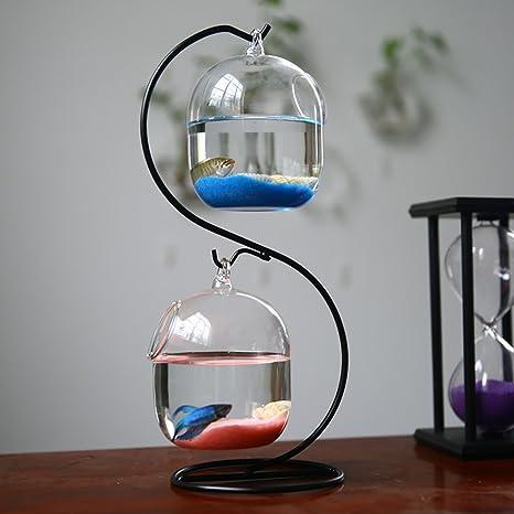 Jiangu - pecera creativa, cristal para colgar tanque de peces transparente, pecera suculenta,