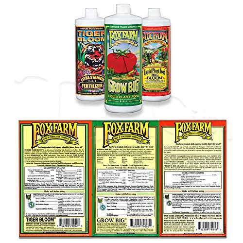 Fox Farm Liquid Nutrient Soil Trio- Pints: Big Bloom, Grow Big, Tiger Bloom (Pack of 3 - 16 oz. bottles)