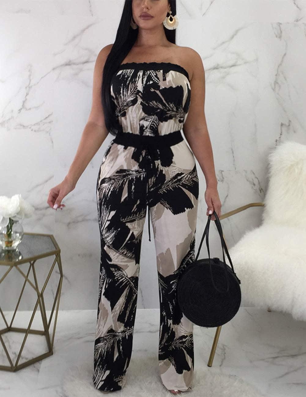 08559bbad38e Amazon.com  BOHISEN Women Sexy Off Shoulder Strapless Floral Wide Leg  Jumpsuit Romper Flare Palazzo Long Pants Set  Clothing
