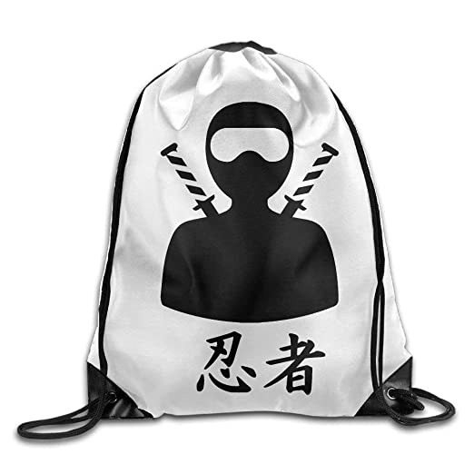 Amazon.com | Ninja Figure Kanji Print Drawstring Backpack ...