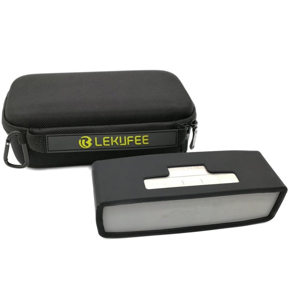 Lekufee Estuche de viaje portá til para Bose SoundLink Mini / Mini II Altavoz Bluetooth con cubierta suave negra