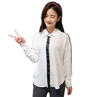 3362407471f8bd EFINNY Women Turn-Down Collar Shirts Long Sleeve Casual OL Chiffon Blouse  Tops: Amazon.co.uk: Clothing