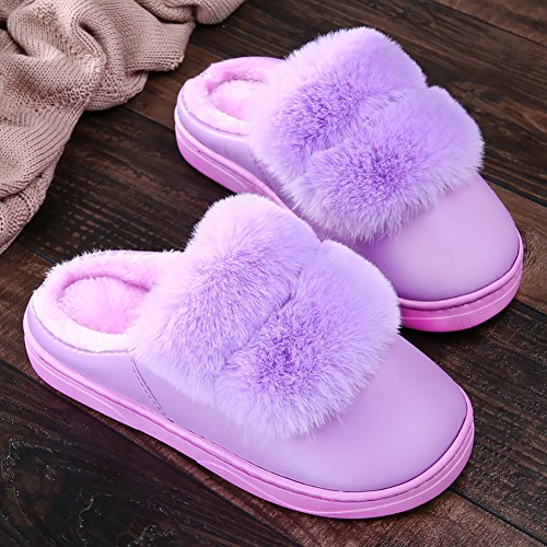 ICEGREY Damen Warme Hausschuhe Plüsch Kunstpelz Soft Sole Wärmehausschuhe Indoor Pantoffeln für Paare Lila 34 35