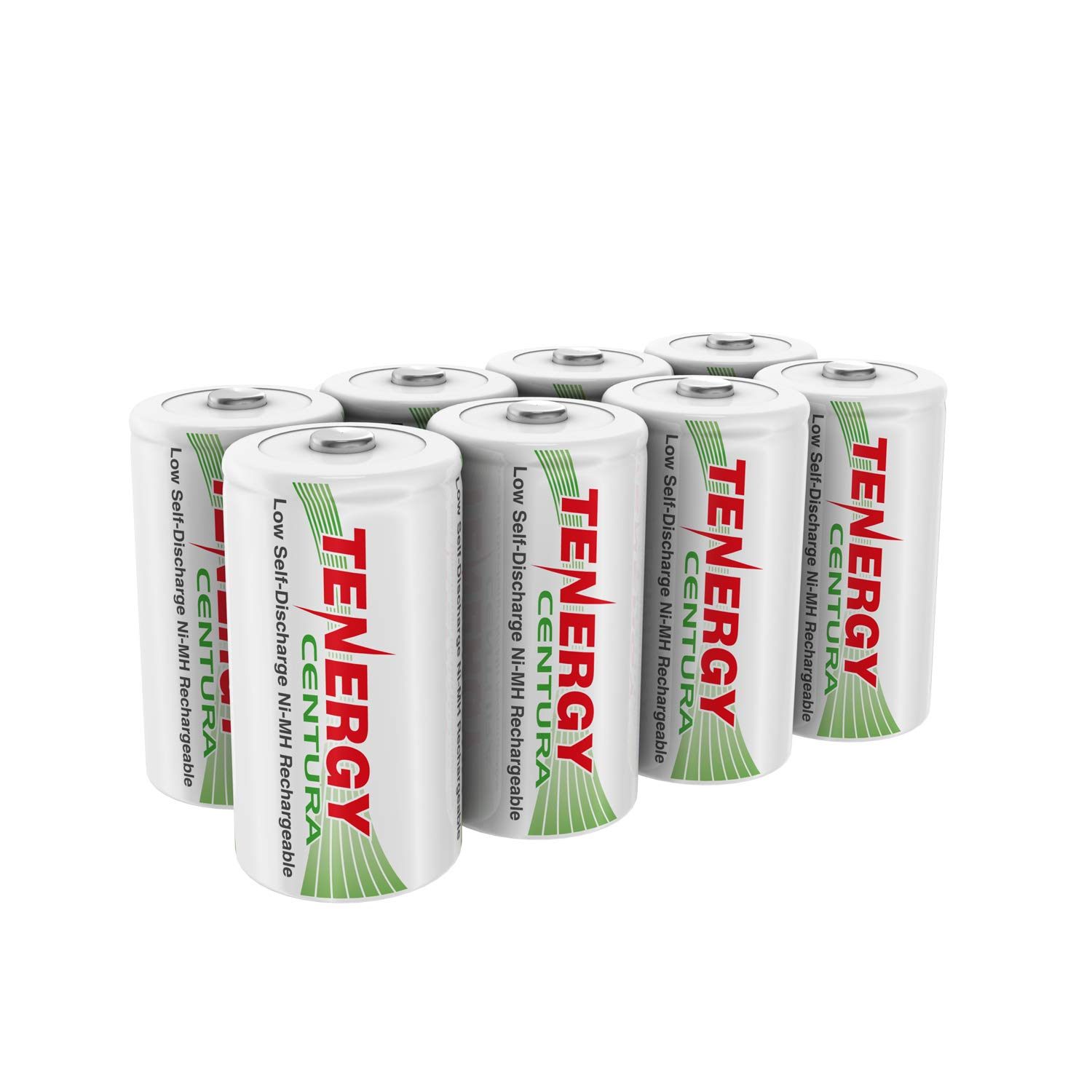 Tenergy Centura 1.2V NiMH Rechargeable D Battery, 8000mAh Low Self Discharge D Cell Batteries, Pre-Charged D Size Battery, 8 Pack - UL Certified