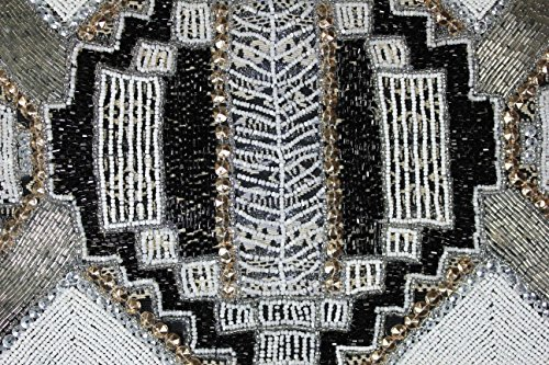 FERETI Borse a tracolla ricamo Tessuto Beige Nera di perline policromo multicolore