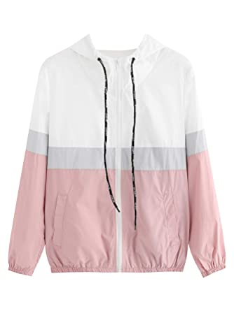 SweatyRocks Womens Casual Color Block Drawstring Hooded Windbreaker Jacket