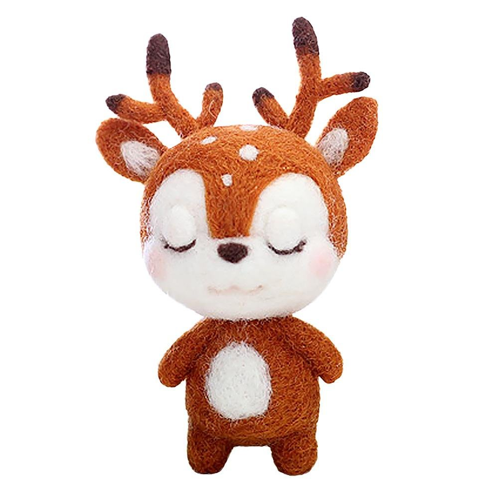 VKTECH Wool Felting Animals Kit DIY Handmade Non Finished Handcraft with Needle Felting Material, Sika Deer