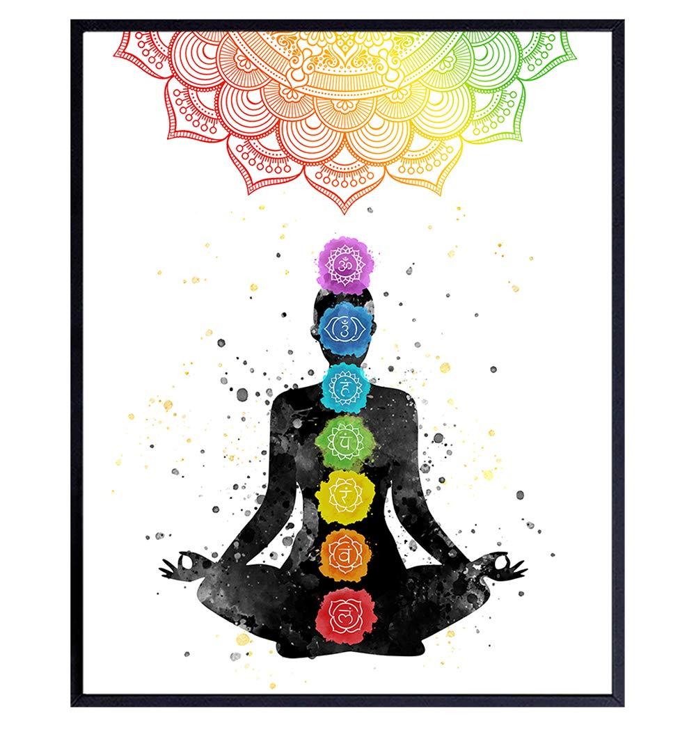 Chakras Decor, Namaste Wall Decor - Buddhism Meditation Zen Wall Art - 8x10 Poster Print for Yoga Room, Spa Decoration - Inspirational Spiritual Buddhist Gift With Mandala, Lotus