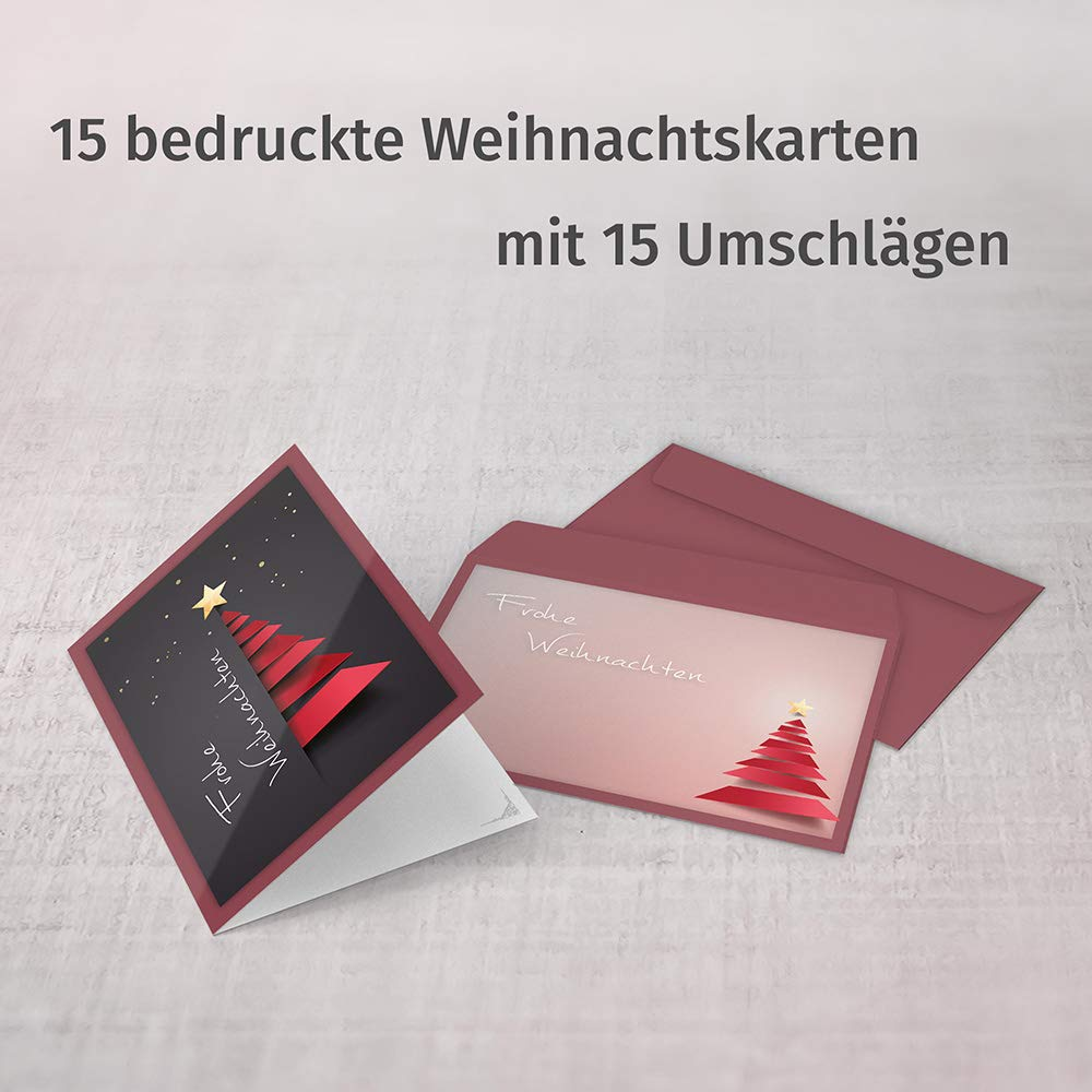 Weihnachtskarten Verse.Christmas Cards With Envelopes Pack Of 15 Folding Cards With