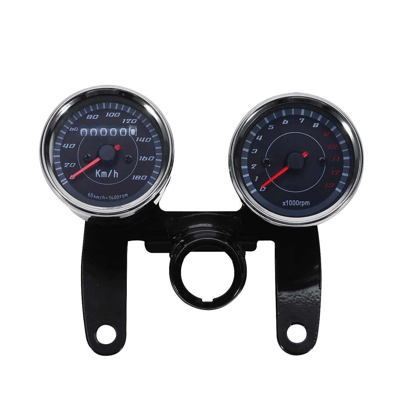 INNOGLOW Motorcycle Backlit Speedometer Tachometer Kit with Bracket,High Capacity Scale,Full-Sweep red Index,0-13000RPM,0-180km/h