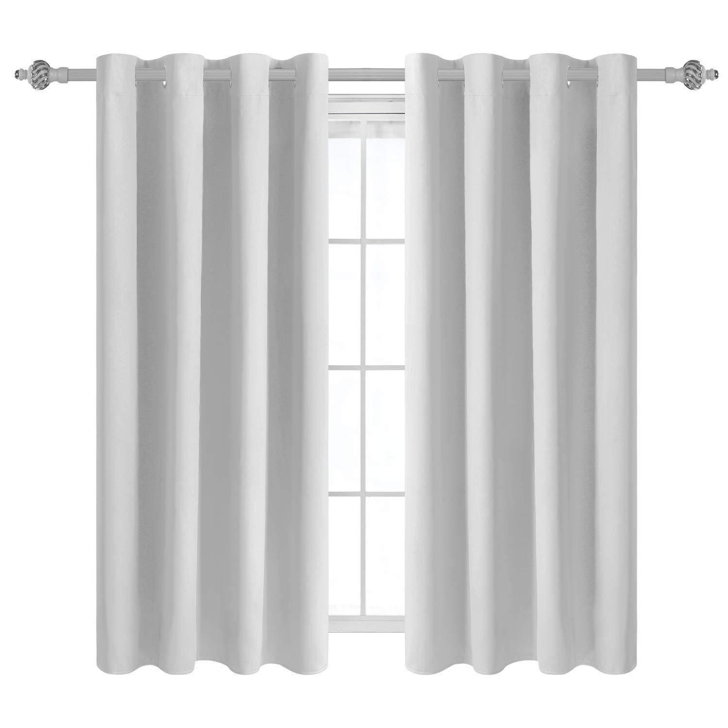 55 X 63 Inch Machine Washable By CASA DECORS Beige Window Curtains Set of 2 Panels Curtains for Living Room and Bedroom 100/% Cotton