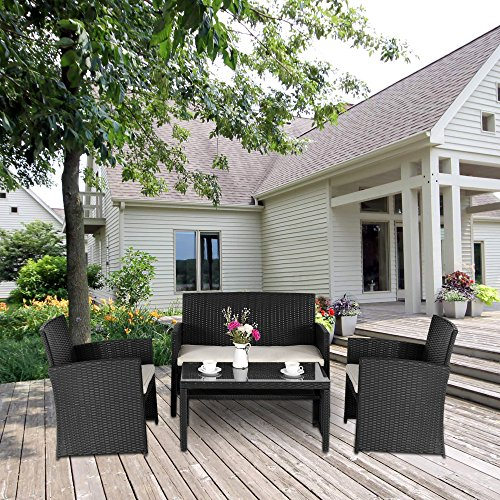 Cloud-Mountain-4-PC-Rattan-Cushioned-Outdoor-Furniture-Set-Black-Wicker-Compact-Patio-Garden-Set