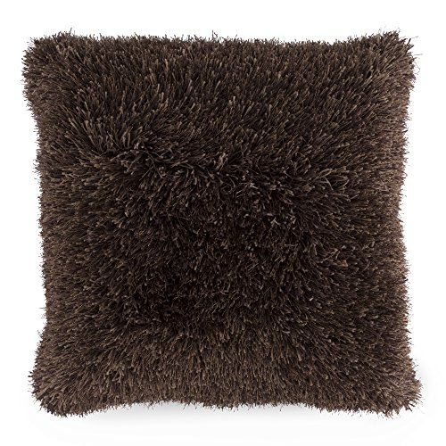 Lavish Home Oversized Floor or Throw Pillow Square Luxury Plush- Shag Faux Fur Glam Decor Cushion for Bedroom Living Room or Dorm (Chocolate)