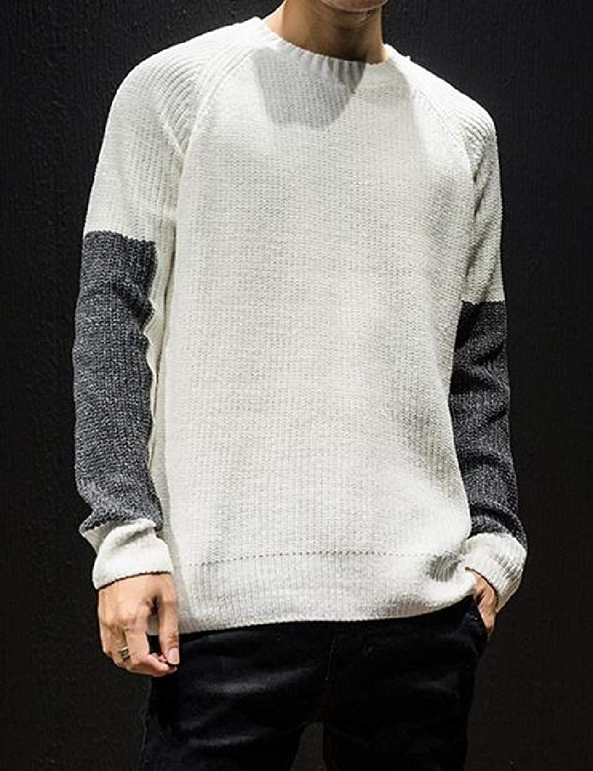 Suncolor8 Men Crew Neck Plus Size Knitting Color Blocked Loose Pullover Sweaters