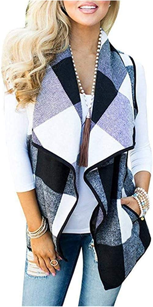 Greentree Women's Loose Fit Short Sleeve Cashmere Knitted Cardigan Sweaters Outerwear with Pocket (Black White, M)