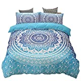 Mandala Flower Duvet Cover Set, Exotic Bohemian Bedroom Bedding Sets, Soft Microfiber Comforter
