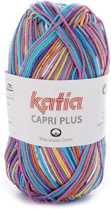 Katia Capri Plus – Color: vivos/azulados (103) – 50 g/aprox. 125 m lana: Amazon.es: Hogar