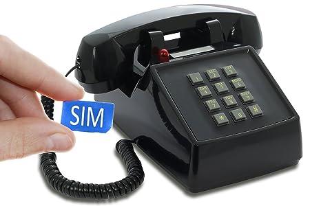 OPIS PushMeFon Mobile: móvil de sobremesa/teléfono Fijo con sim/teléfono móvil para Mayores/teléfono Retro móvil con Disco de marcar (Negro)