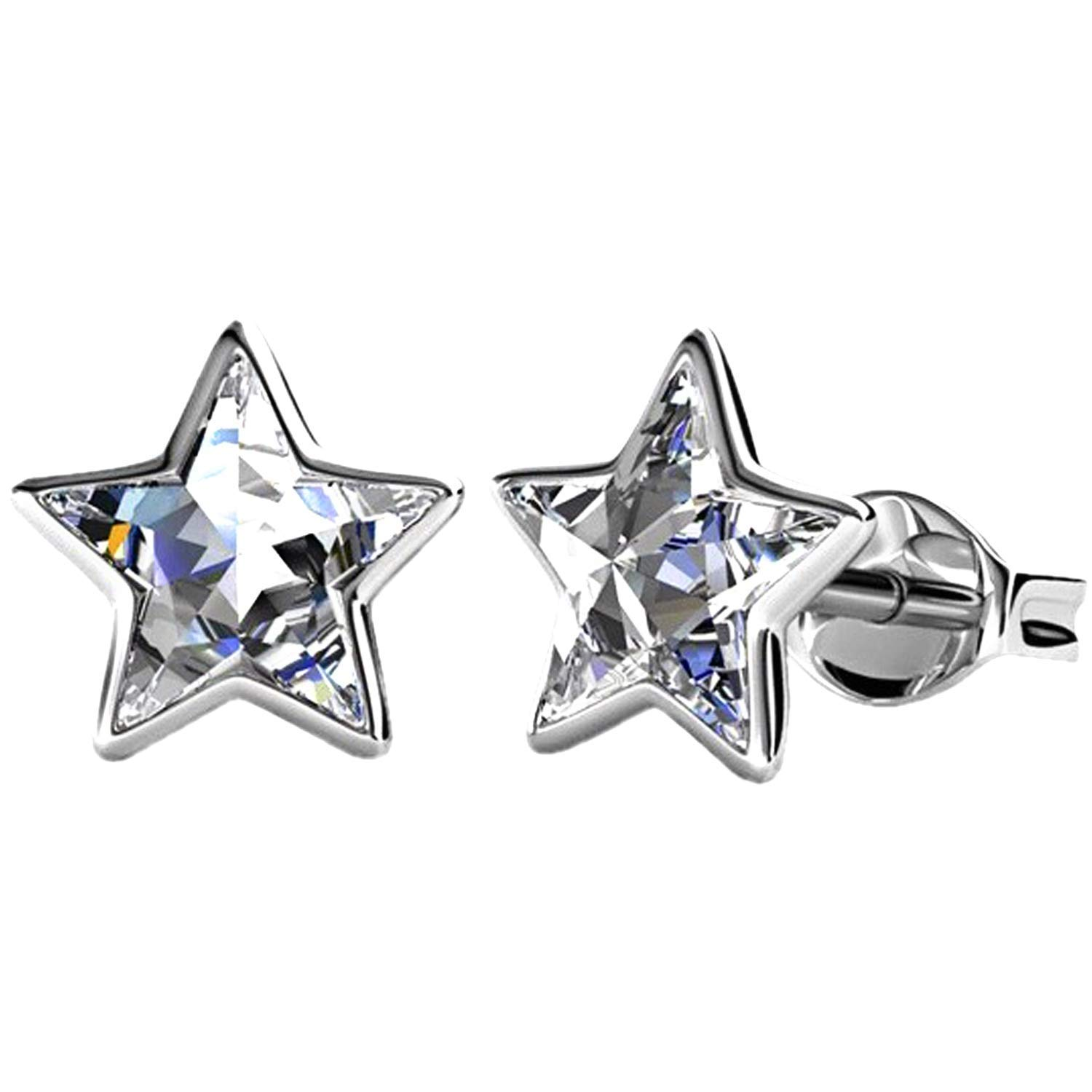 c4c69c33cc605 Silver Star Small Stud Swarovski Crystal Earrings - Rhodium plated for  Women's or Girl's Gift